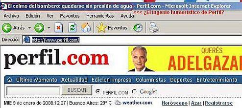 Arriba, a la izquierda, el tôulo dinámico de la homepage reproduce el colmo delbombero