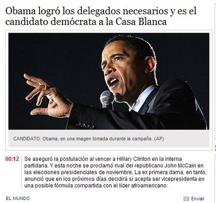 Captura y noticia extraidas del diario Clarin
