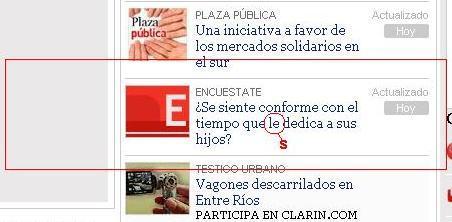 Captura de la homepage de Clarin, realizada al mediodia