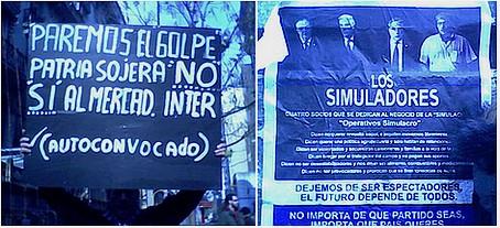 Dos carteles de protesta, ayer en Plaza de Mayo