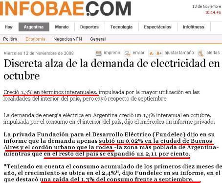 Noticia publicada por Infobae hoy jueves 13 de noviembre