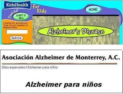 Capturas de las páginas de Kids Health y de la Asociación Alzheimer de Monterrey