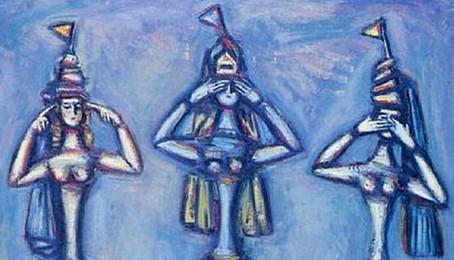 No escucho; no veo; no hablo. Pintura al óleo de Aleksandr Grigor'evich Tyshler