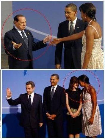 Silvio Berlusconi y Carla Bruni, bajo el influjo de Michelle Obama en Pittsburgh. Fotos publicadas en Clarín.