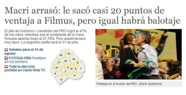 Captura de la versión digital de Clarín, realizada a las 8.15.