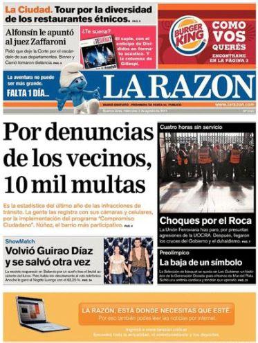 Captura de la edición digital de La Razón, realizada hoy a las 13.45.