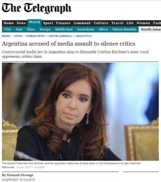 'El enfrentamiento entre la Sra. Kirchner y los medios de la oposición ha adquirido ribetes de una telenovela latinoamericana' dice el epígrafe de la foto de CFK que The Telegraph utilizó para ilustrar su nota.