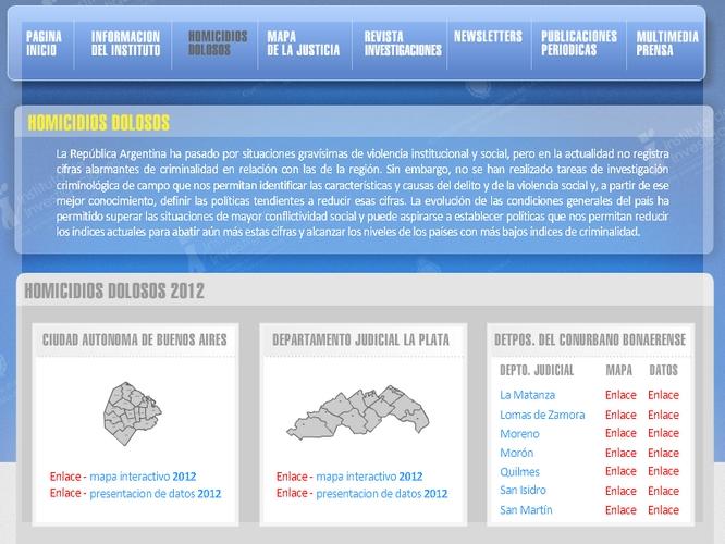 Captura del sitio desde donde los interesados podrán bajar las tres ediciones del informe sobre homicidios dolosos.