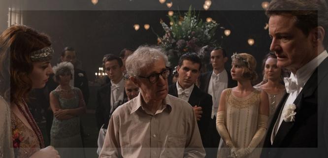 Woody Allen en pleno rodaje, escoltado por Emma Stone y Colin Firth.