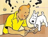 El reportero Tintin y su perro Milou, ante el artículo de la RGPI.
