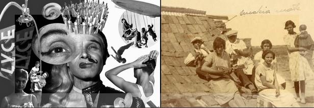 Izquierda: diseño del afiche de la muestra El imaginario italiano. Derecho: foto de inmigrantes italianos en Argentina.