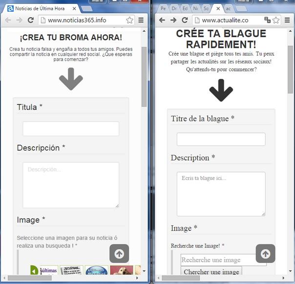 Las páginas de inicio de Noticias 365 y Actualité son casi idénticas.