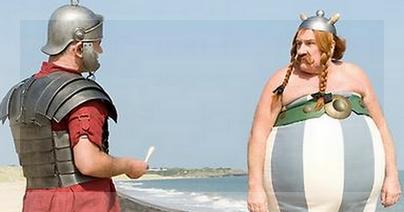 Pobre, el romano encargado de llevarle la mala nueva a Obélix.