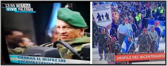 Aldo Rico a la izquierda y los integrantes del Operativo Independencia a la derecha de este fotomonataje de Espectadores.