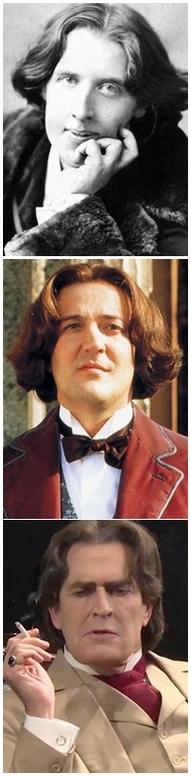 El escritor y dramaturgo irlandés según el retrato fiel y las interpretaciones de Everett en El beso de Judas y de Fry en el film Wilde.