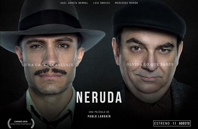 Neruda desembarcó en agosto en las salas chilenas, de la mano de este afiche promocional.